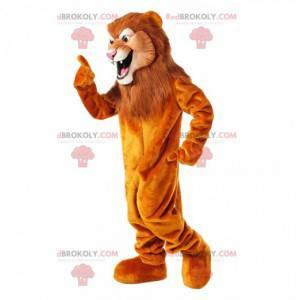 Mascotte leone arancione con una grande criniera marrone -