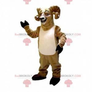 Mascote de cabra com chifres, fantasia de carneiro -