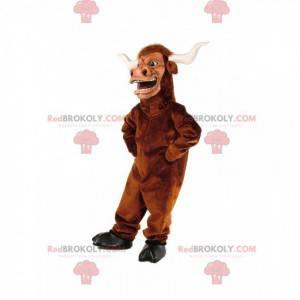 Mascotte bufalo marrone, costume da toro gigante -