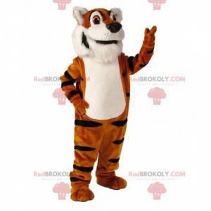 Weiches und realistisches Tigermaskottchen in Orange, Weiß und