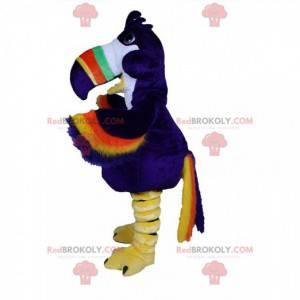 Mascote tucano gigante e colorido, fantasia de papagaio azul -