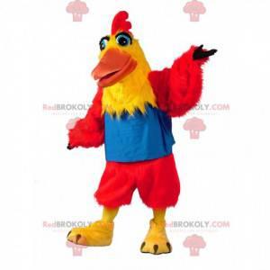 Mascotte di pollo rosso e giallo, costume da gallina colorato -