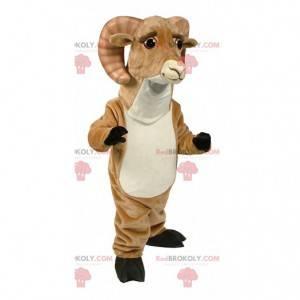 Mascote de carneiro marrom e branco com chifres grandes -