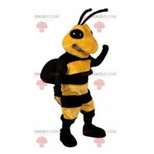 Mascote de abelha amarela e preta, fantasia de vespa