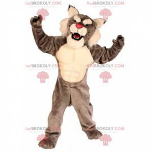 Gray and white wild cat mascot, feline costume - Redbrokoly.com