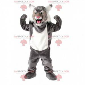 Mascote gato selvagem cinza e branco, fantasia de felino -