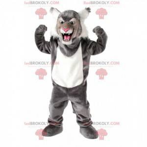 Mascotte gatto selvatico grigio e bianco, costume felino -