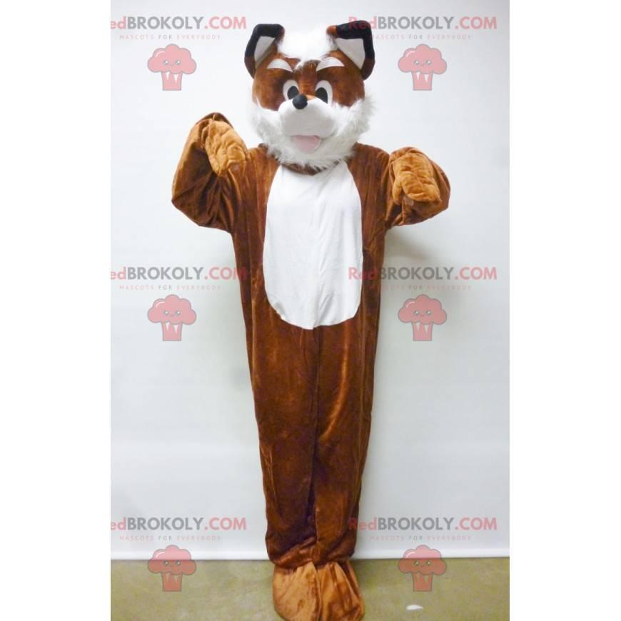 Oranžový a bílý pes liška maskot - Redbrokoly.com