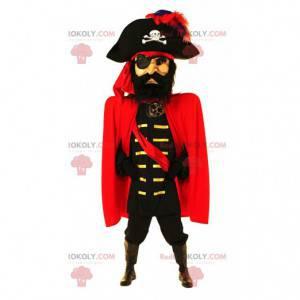 Mascotte capitano pirata, costume da grande pirata -