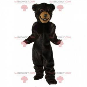 Velký maskot tmavě hnědého medvěda, kostým medvídka -