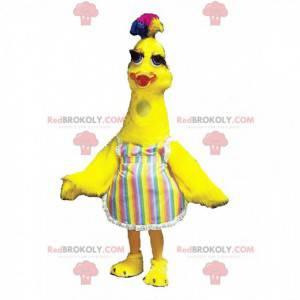 Maskot velký žlutý pták s barevným knotem na hlavě -