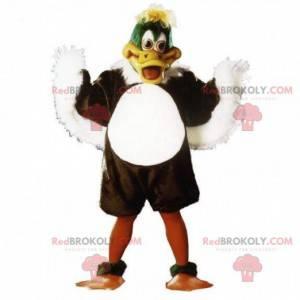 Hnědý, bílý a zelený kachní maskot, ptačí kostým -