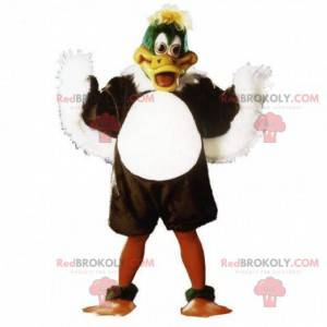 Mascote de pato marrom, branco e verde, fantasia de pássaro -