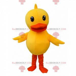 Maskot žluté kachny, kanárský kostým, obří kuřátko -