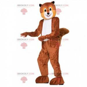 Mascote de esquilo marrom e branco, fantasia de floresta -