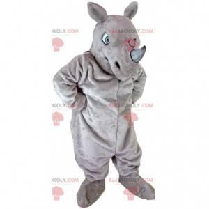 Mascotte rinoceronte gigante, costume animale con le corna -