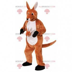 Mascotte canguro arancione e bianco con un canguro bambino -