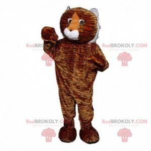 Oranje tijger mascotte, zwart en wit, reusachtig katachtig