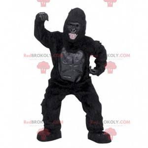 Meget realistisk og skræmmende sort gorilla maskot -