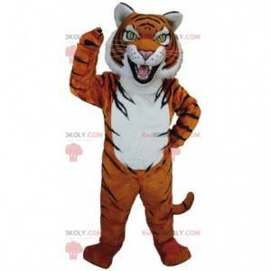 Mascote tigre laranja, branco e preto com olhos amarelos -