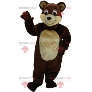Brown and beige teddy bear mascot, cute bear costume -