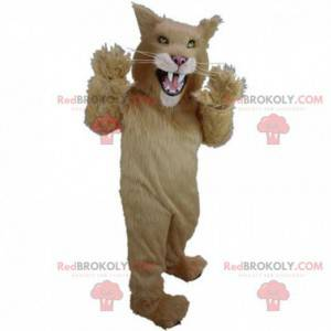 Beige en witte kat mascotte, wilde kat kostuum - Redbrokoly.com