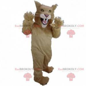Beige und weiße Katze Maskottchen, Wildkatze Kostüm -