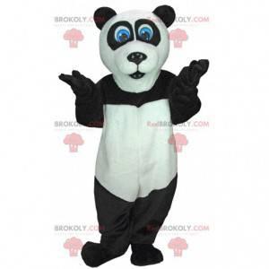 Sort og hvid panda maskot med blå øjne - Redbrokoly.com