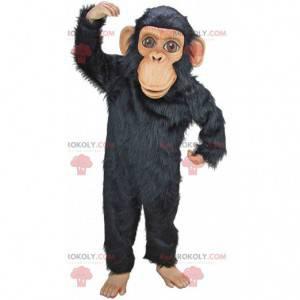 Mascote de chimpanzé, fantasia de macaco preto muito realista -