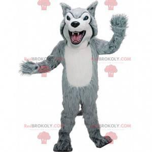 Szaro-biała maskotka husky, kostium owłosionego wilka -