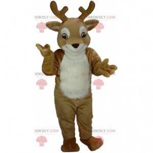 Brązowo-biała maskotka jelenia, kostium renifera, karibu -