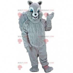 Mascota ardilla gris con ojos azules, traje de bosque -