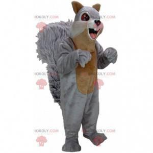 Mascote de esquilo cinza e marrom, fantasia de floresta -