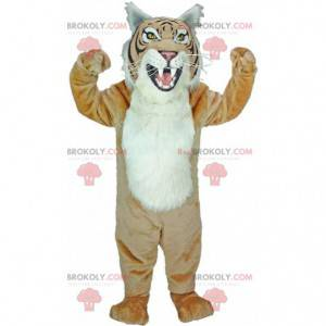 Mascot beige and white tiger, giant leopard costume -