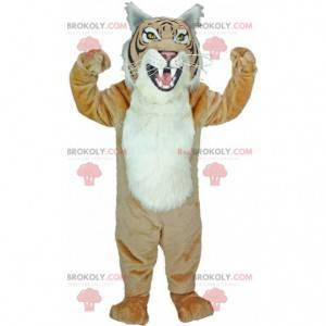Mascot tigre beige y blanco, traje de leopardo gigante -