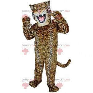 Mascote de jaguar feroz, fantasia colorida de felino -