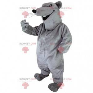 Mascote de rato cinza, fantasia de roedor, rato gigante -