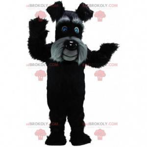 Schwarz-graues Terrier-Maskottchen, haariges Hundekostüm -
