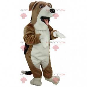 Hnědý, bílý a černý beagle maskot, kostým pro psa -