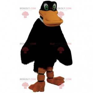 Mascota del pato negro gigante, traje de pájaro colorido -