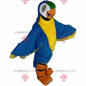 Mascotte kleurrijke papegaai, blauwe ara kostuum, gigantische