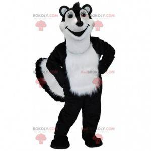 Sort og hvid stinkdyr maskot, kæmpe polecat kostume -