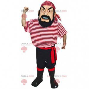 Realistische piratenmascotte, zeemanskostuum plunderend -