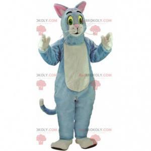 Mascote gato azul e branco, fantasia de gato de pelúcia -