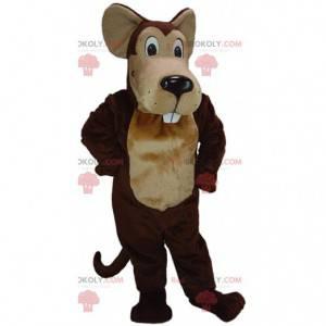 Kæmpe brun mus maskot, tegneserie stil mus kostume -