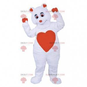 Romantic teddy bear mascot, bear costume with hearts -
