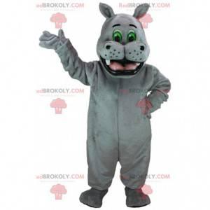 Reusachtig grijs nijlpaard mascotte, exotische dierenkostuum -
