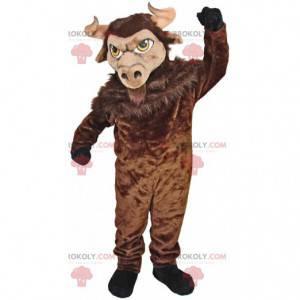 Mascote gigante de bisão marrom, fantasia de animal bovino -
