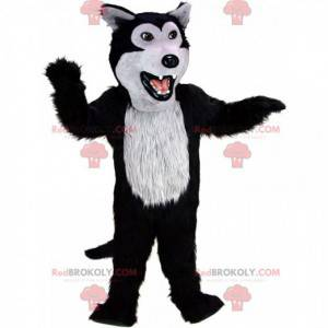 Black and gray wolf mascot, plush wolf dog costume -