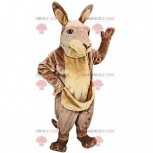 Zeer realistische bruine en lichtbruine kangoeroe-mascotte -